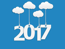 2017 New year. 2017 New Year background. Design of calendar. Vector illustration on blue background Stock Illustration