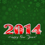 New year 2014 background. New year background with digits 2014 and snowflakes on green Stock Photography