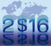 New 2016 year background with dollar, vector. New 2016 year card with dollar symbol, vector illustration Royalty Free Stock Image
