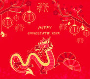 New Year Background with Dragon and Monkey Stock Image