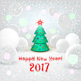 New Year background with elegant cartoon Christmas tree. And Happy New Year 2017! inscription. Vector illustration Stock Photography