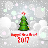 New Year background with elegant cartoon Christmas tree. And Happy New Year 2017! inscription.  Vector illustration Royalty Free Stock Photo