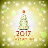 New Year background with elegant Christmas tree. New Year background with elegant cartoon Christmas tree and Happy New Year 2017! inscription. Vector Royalty Free Stock Photo