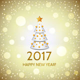 New Year background with elegant Christmas tree. New Year golden background with elegant white Christmas tree and Happy New Year 2017! inscription. Vector Royalty Free Stock Images