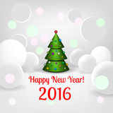 New Year background with elegant Christmas tree. Happy New Year! Vector illustration Royalty Free Stock Photos