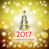 New Year background with elegant Christmas tree. New Year background with elegant metallic cartoon Christmas tree and Happy New Year 2017! inscription. Vector Royalty Free Stock Photos