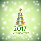 New Year background with elegant Christmas tree. New Year background with elegant metallic cartoon Christmas tree and Happy New Year 2017! inscription. Vector Royalty Free Stock Photo