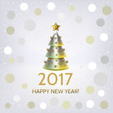 New Year background with elegant Christmas tree. New Year background with elegant metallic Christmas tree and Happy New Year 2017! inscription. Vector Stock Photo