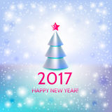 New Year background with elegant Christmas tree. New Year background with elegant metallic Christmas tree and Happy New Year 2017! inscription. Vector Royalty Free Stock Photography