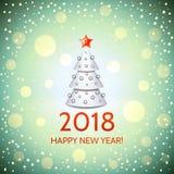 New Year background with elegant Christmas tree. New Year background with elegant white cartoon Christmas tree and Happy New Year 2018! inscription. Vector Stock Image
