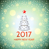 New Year background with elegant Christmas tree. New Year background with elegant white cartoon Christmas tree and Happy New Year 2017! inscription. Vector Stock Photography