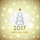 New Year background with elegant Christmas tree. New Year background with elegant white cartoon Christmas tree and Happy New Year 2017! inscription. Vector Stock Image