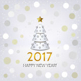 New Year background with elegant Christmas tree. New Year background with elegant white Christmas tree and Happy New Year 2017! inscription. Vector illustration Royalty Free Stock Images