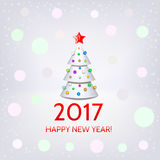 New Year background with elegant Christmas tree. New Year background with elegant white Christmas tree and Happy New Year 2017! inscription. Vector illustration Royalty Free Stock Image