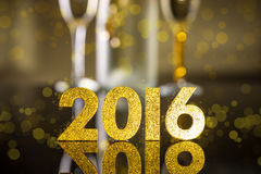New Year background. Elegant gold 2016 New Year background with textured golden numbers Royalty Free Stock Photo