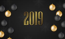 2019 New Year background. Festive premium design template for holiday greeting card stock illustration