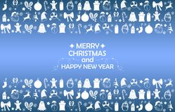 New Year 2019 background with figures, Christmas toys, candy, Santa, candle on blue gradient background. New Year 2019 composition stock photo