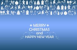 New Year 2019 background with figures, Christmas toys, candy, Santa, candle on blue gradient background. New Year 2019 composition stock image