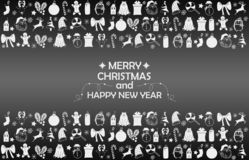 New Year 2019 background with figures, Christmas toys, candy, Santa, candle on gray gradient background. New Year 2019 composition royalty free stock photo