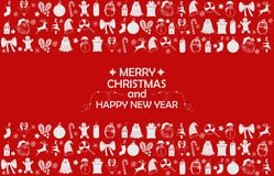 New Year 2019 background with figures, Christmas toys, candy, Santa, candle on red background. New Year 2019 composition. Flat lay stock images