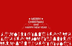 New Year 2019 background with figures, Christmas toys, candy, Santa, candle on red background. New Year 2019 composition. Flat lay stock photography