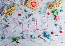 Rustic Christmas flat lay, text 2018 Royalty Free Stock Photography