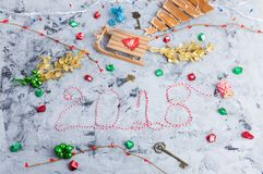 Rustic Christmas flat lay, text 2018 Stock Images