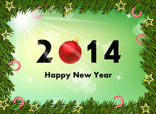2014 new year background. With fir Stock Photos
