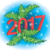 New Year 2017. On the background of fir royalty free illustration