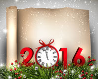 New Year 2016 background. With fir branch and clock. Vector illustration Stock Photos