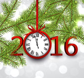 2016 New Year background. With fir branch and clock. Vector illustration Royalty Free Stock Photography