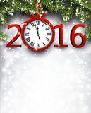 2016 New Year background. With fir branch and clock. Vector illustration Royalty Free Stock Photos