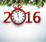 2016 New Year background. With fir branch and clock. Vector illustration Stock Photo