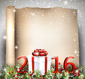 New Year 2016 background. With fir branch and gift. Vector illustration stock illustration