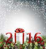 2016 New Year background. With fir branch and gift. Vector illustration vector illustration