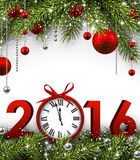 2016 New Year background. With fir branches and clock. Vector illustration Stock Image