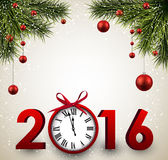 2016 New Year background. With fir branches and clock. Vector illustration Royalty Free Stock Images