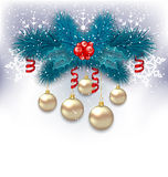 New Year background with fir branches and glass balls Stock Image