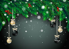 New Year background with fir branches and snowflakes. On black background. Vector illustration Stock Images