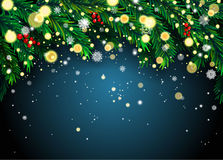 New Year background with fir branches and snowflakes Royalty Free Stock Image