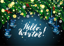 New Year background with fir branches and snowflakes. On blue background. Vector illustration Royalty Free Stock Photo