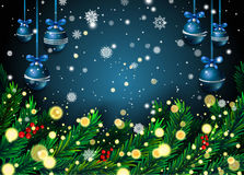 New Year background with fir branches and snowflakes. On blue background. Vector illustration Stock Image