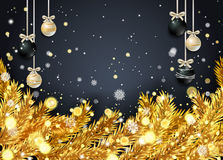 New Year background with fir branches and snowflakes. New Year background with golden fir branches and snowflakes on black background. Vector illustration Stock Image