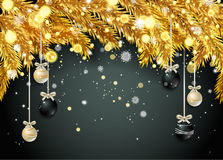 New Year background with fir branches and snowflakes. New Year background with golden fir branches and snowflakes on black background. Vector illustration Stock Photo