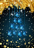New Year background with fir branches and snowflakes. New Year background with golden fir branches, confetti, snowflakes and blue Christmas balls in the shape of Royalty Free Stock Image