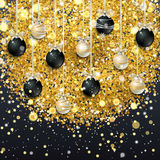 New Year background with fir branches and snowflakes. New Year background with golden confetti and Christmas balls, snowflakes on black background. Vector Stock Photography
