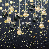 New Year background with fir branches and snowflakes. New Year background with golden confetti and Christmas balls, snowflakes on black background. Vector Stock Images