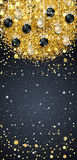New Year background with fir branches and snowflakes. New Year background with golden confetti and Christmas balls, snowflakes on black background. Vector Royalty Free Stock Photos