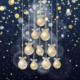 New Year background with fir branches and snowflakes. New Year background with golden confetti and Christmas balls in the shape of a Christmas tree, snowflakes Royalty Free Stock Photography