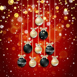 New Year background with fir branches and snowflakes. New Year background with golden confetti and Christmas balls in the shape of a Christmas tree, snowflakes Stock Photos